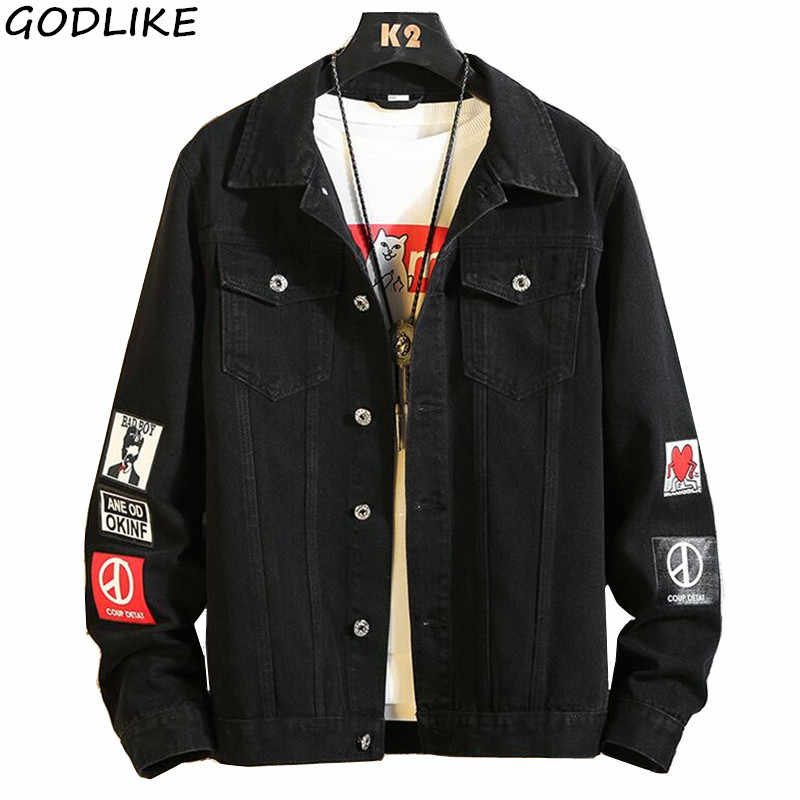 Mens Black Denim Jacket Male Washed Denim Jacket Classic Denim Jacket with Collar for Men Casual Fashion Spring Autumn Coats