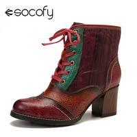 SOCOFY rétro en cuir véritable couleur épissage à lacets fermeture éclair à talons hauts bottes courtes chaussures élégantes femmes chaussures Botas Mujer