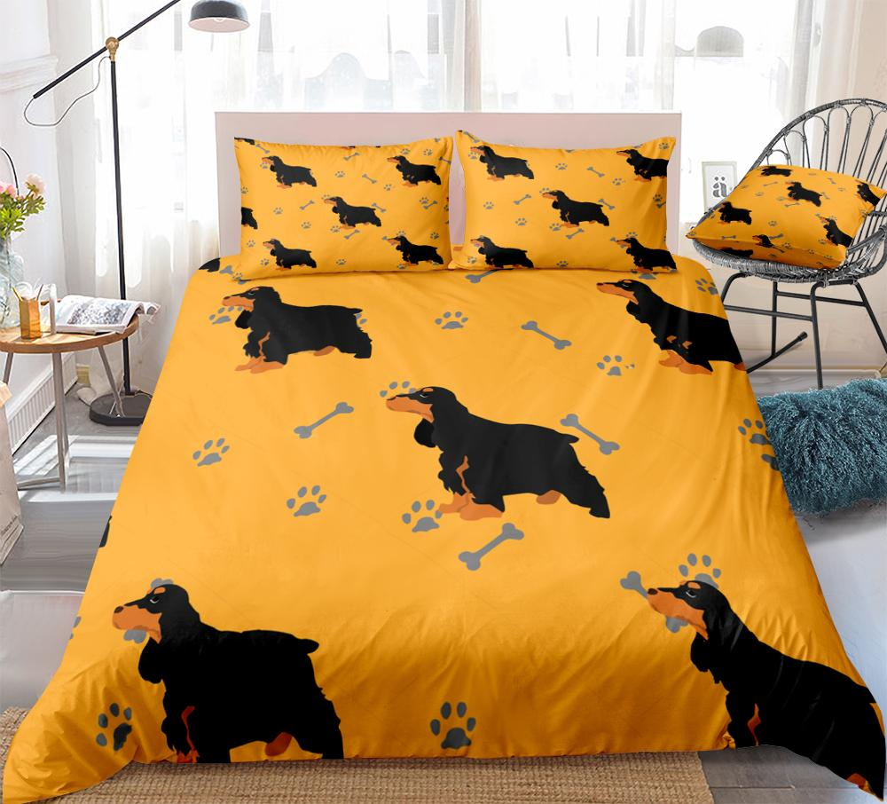 Dogs Duvet Cover Set Cocker Spaniel Dogs Bedding Kids Boys Girls Cartoon Pet Quilt Cover Brown Queen Home Textiles King Dropship