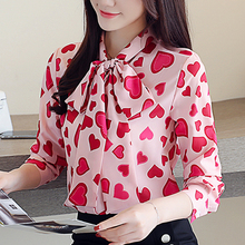Feminine Photo Color Chiffon Blouses Shirt Autumn 2019 New Korean Edition Printed Woman Tops Long Sleeve Top 12j