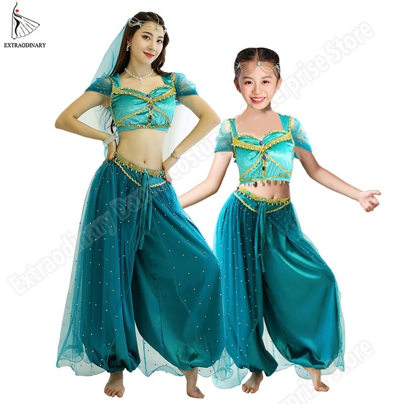 Belly Dance Jasmine Princess Costume Halloween Women Children New Bollywood Top Pants Veils Kids Princess Outfit