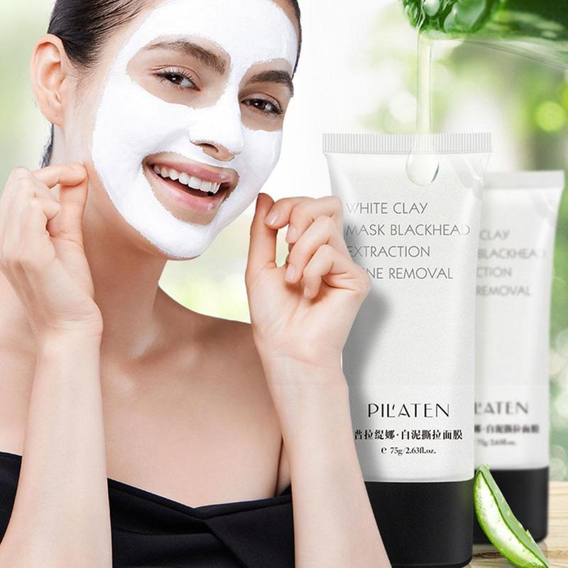 Blackhead Remover Face Masks White Clay Mask Deep Cleansing Mask For The Face Acne Treatments Black Dots Remover Peeling Mask image