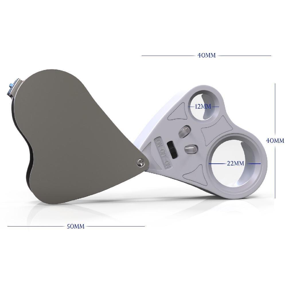 Купить с кэшбэком DishyKooker 2in1 30X 60X Loop Magnifier Jeweler Eye Loupe Lens LED 10*4*3CM White