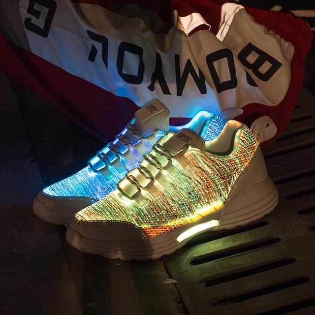 New LED Shoes Fiber Optic Shoes for girls boys men women USB Charging light up shoe for Adult Glowing Running Sneaker 3