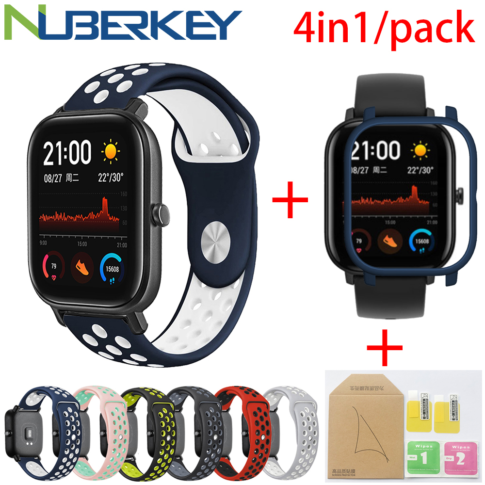 4in1 For Xiaomi Huami Amazfit GTS Sport Silicone Watchband Strap Wristband Bracelet With PC Case Cover Screen Protector