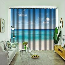 blue beach curtains  3d new window balcony thickened windshield blackout beautiful scenery