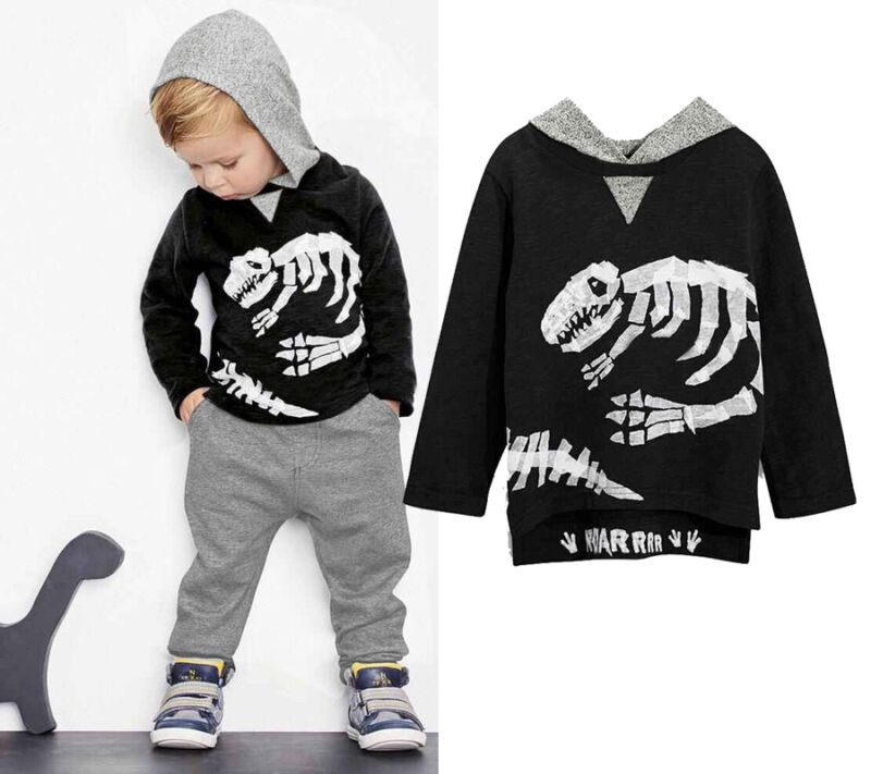 Baby Kids Boys Girls Dinosaur Bones Print Sweaters Clothes Cotton Hooded Tops and Pants Outfits Set