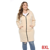 Plus size big 5XL 6XL 7XL 8XL bust 132cm large size women's hoodie autumn and winter long sleeved loose large size sweatshirt
