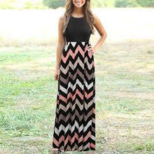 Moda feminina stripe vestido casual longo vestido de verão senhora praia vestido de verão o pescoço boho maxi vestidos longo # g2