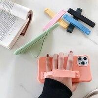 부드러운 실리콘 솔리드 컬러 다채로운 손목 밴드 손 모든 전화 범용 소켓 녹색 홀더 손가락 그립 휴대 전화 커버 케이스