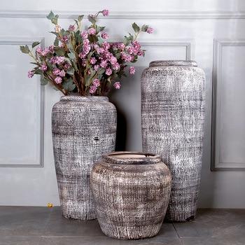 Jingdezhen Ceramic Handicrafts Black and White Classic Set Landing Large Vase Villa Courtyard Outdoor Large Ornaments