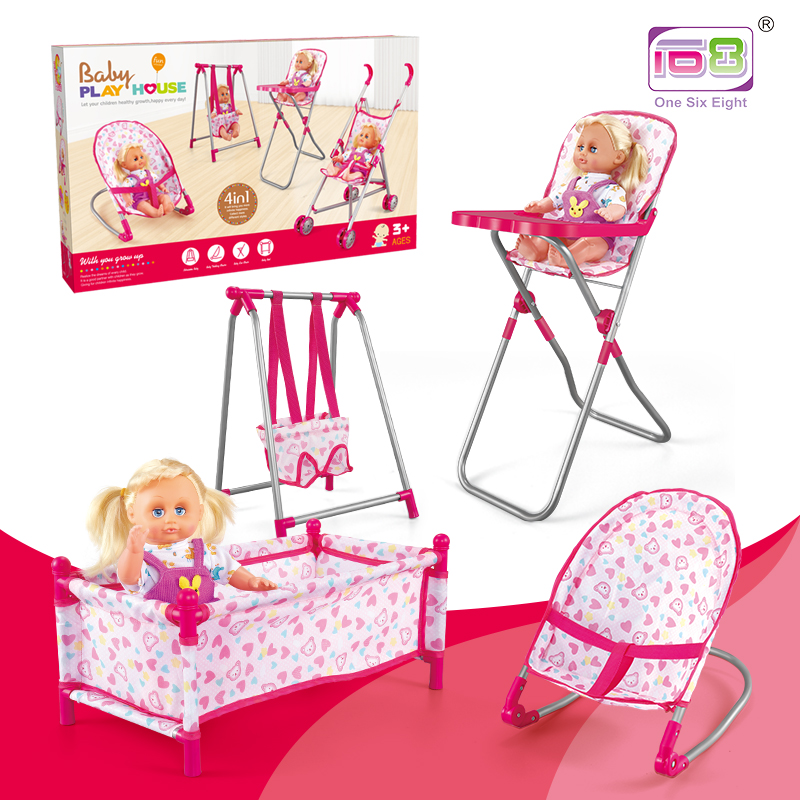 4 In1 Pretend Play Toys Furniture Stroller Doll Baby Stroller Children Toy Doll Girl Play House Toy Stroller Doll Housefurniture