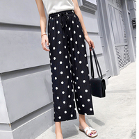 2019 Streetwear Summer Wide Leg Pants Women Elastic High Waist Pleated Polka Dot Pants Plus Size Trousers Women pantalon femme