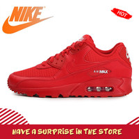 Original Authentic NIKE AIR MAX 90 ESSENTIAL Women's Running Shoes Sneakers Red Breathable Good Quality 2019 New Arrival AJ1285
