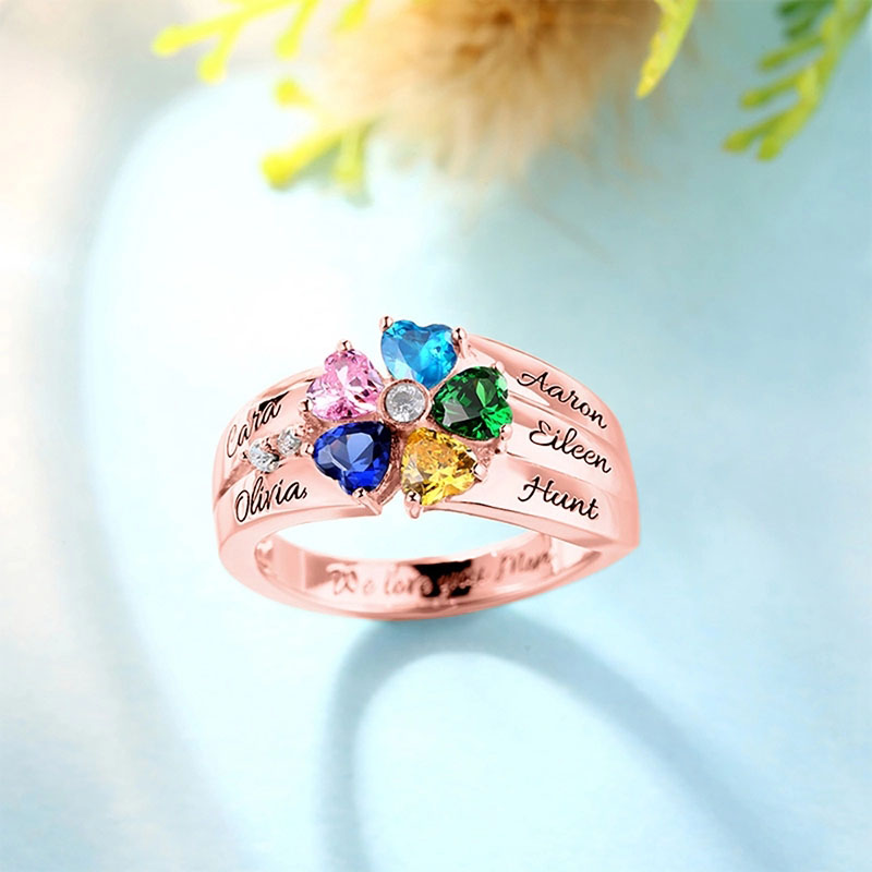 SHEON Personalized 925 Sterling Silver Rings Custom Heart Birthstone Ring With 5 Names Jewelry for Her Mother 39 s day Gift in Rings from Jewelry amp Accessories