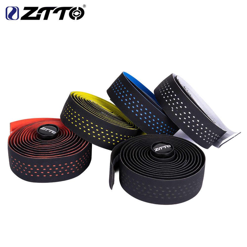 ZTTO bicicleta de carretera correas transpirables absorbente de sudor de alta calidad a prueba de golpes EVA PU manillar con color envolvente + 2 enchufe