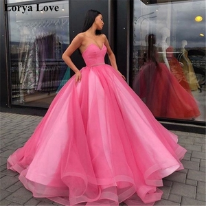 Pink Quinceanera Dresses 2020 Ball Gown Tulle 15 anos Flowers Fluffy Coral Evening Dress Sweet 18 Vestidos Blue Long Prom Dress