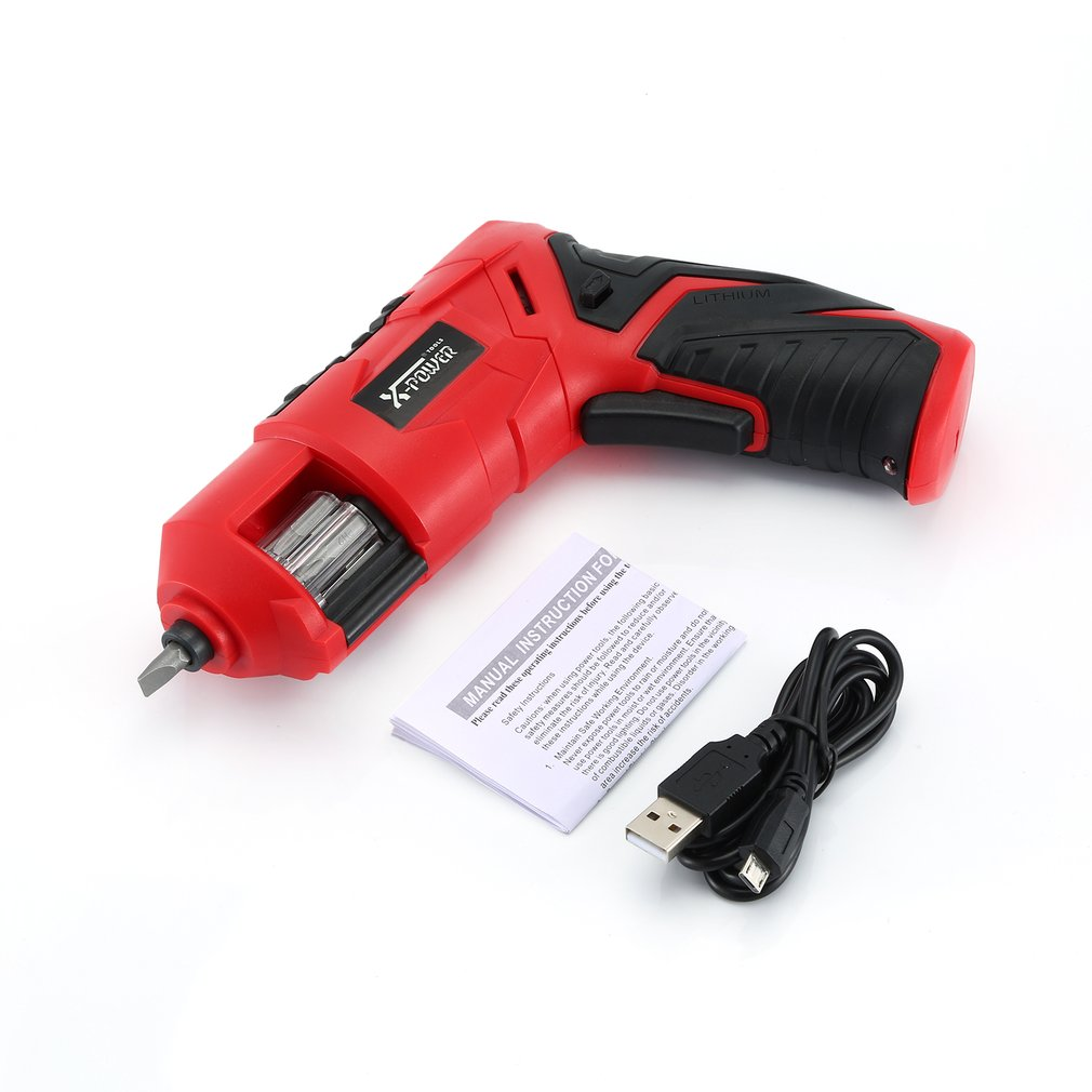 X power 6V Cordless Electric Screwdriver Bits kit with LED Lighting Wireless Screw Power Driver Drill Power Tools|Electric Screwdrivers| |  - title=