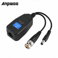 Anpwoo Dc-8mhz passivo cctv coaxial bnc vídeo power balun transceptor para conector rj45 1 par (2 pces)