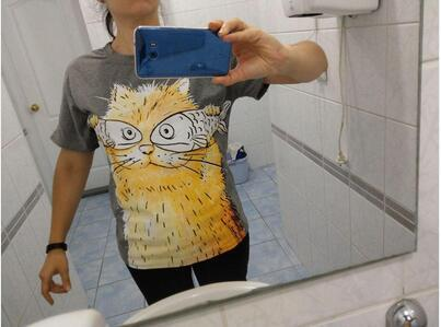 For Pet Fans New Arrivals T-shirts, Sweatshirts & Hoodies Cat Catch Fish Women T-shirt  My Pet World Store