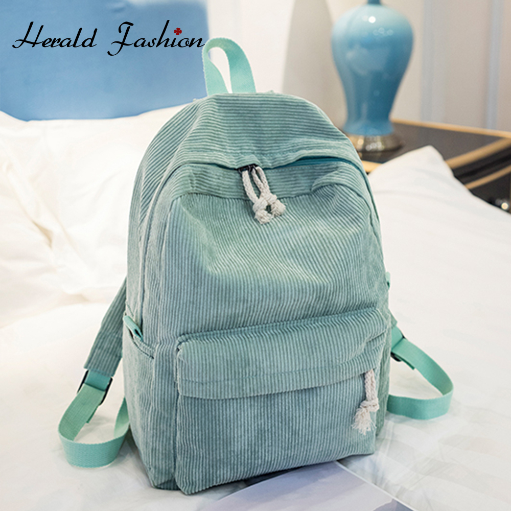 Preppy Style Soft Fabric Backpack Female Corduroy Design School Backpack For Teenage Girls Striped Backpack Women Velvet Screen