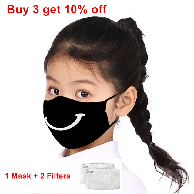 Print Mouth Mask Washable Cotton PM2.5 Filter kids Anti Dust Face Mask Reusable Mouth-muffle Bacteria Proof Flu Children Mask 1
