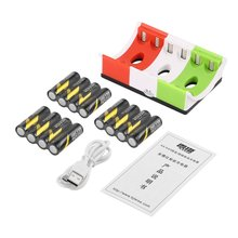 LEISE 12pcs Rechargeable Batteries+6 Slots Smart Charger wit