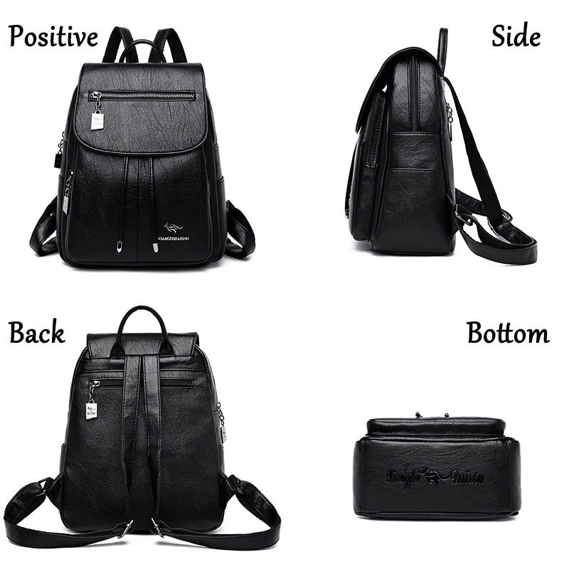 Image 5 - High Quality Women Leather Backpacks Female Shoulder Bag Sac a Dos Travel Ladies Bagpack Mochilas School Bags For Girls Preppy-in Backpacks from Luggage & Bags