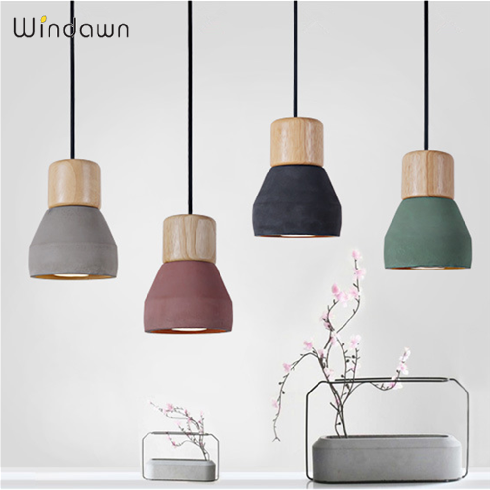Windawn Nordic Pendant Lights Cement Ceiling Lamp Simple Bedside Lamp Modern Hotel Bedroom Living Room Office For Ceiling Lamp
