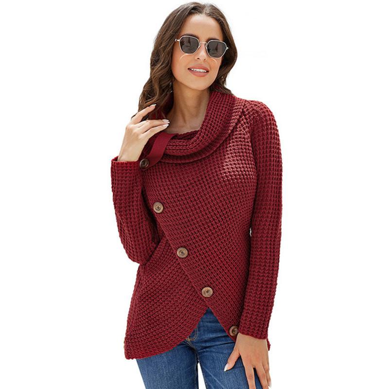 Button Turtleneck Sweaters Women warm Irregular Winter Clothes Women Casual Ladies Female Pullovers Women Clothing Sweaters 2019 (6)