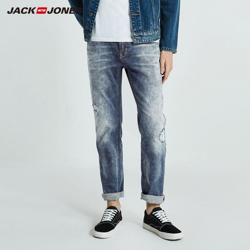 JackJones Autumn Men's Cotton Stretch Ripped Slim Jeans Ankle-length Cropped Jeans Denim Pants Menswear 218332538