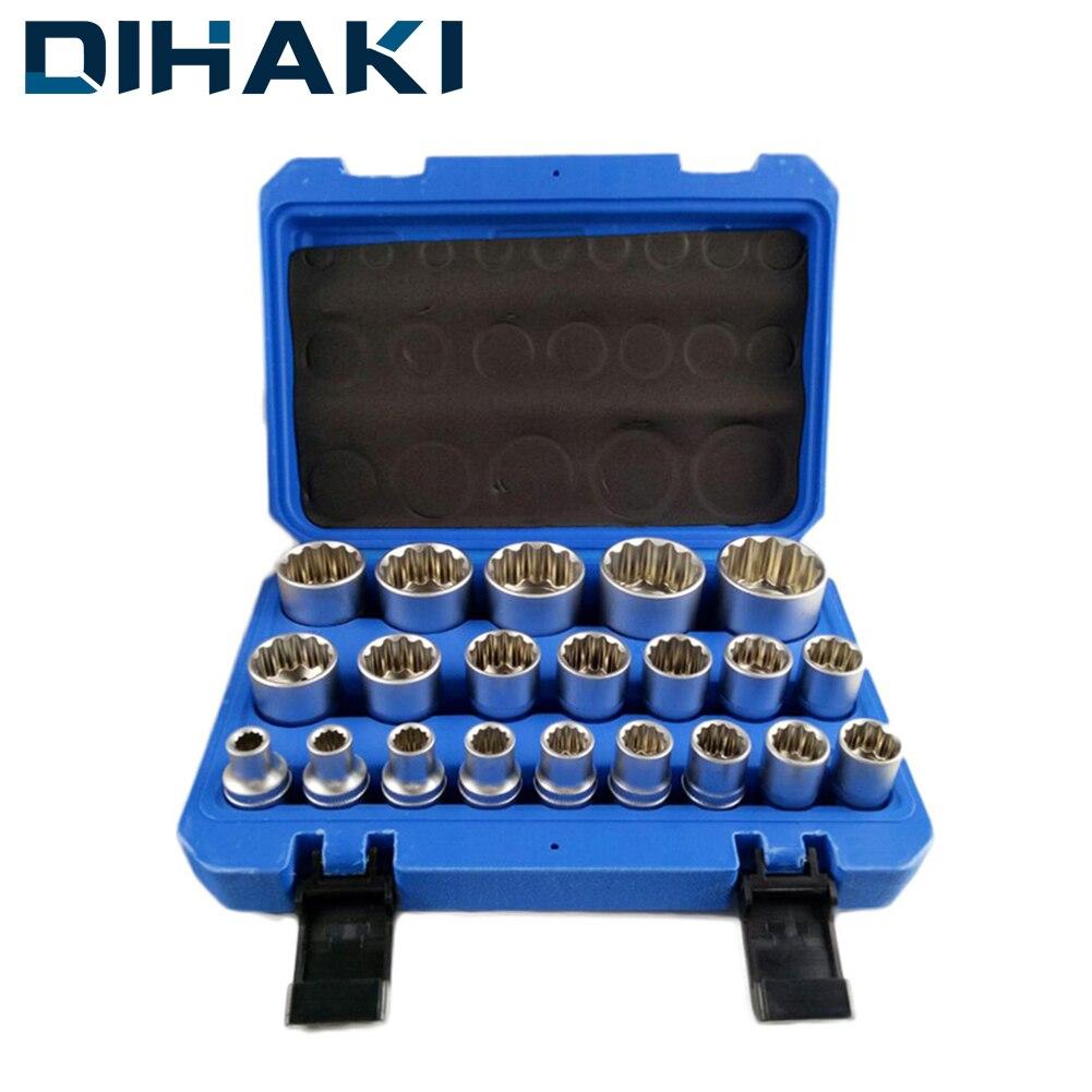 16/19/21 Pcs 1/2' Socket Convertor Adaptor Set Square Drive 12-point Impact Socket Adaptor For Car Bicycle Garage Repair Tool
