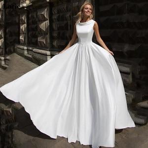 Image 4 - LORIE linii suknia ślubna Boho lalka kołnierz w stylu Vintage bez rękawów sukni ślubnej 2019 Lace Up powrót suknia ślubna długość podłogi