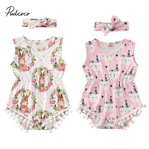 Pudcoco Easter Bodysuit For Newborn Baby Girls Bunny Headband Sleeveless Jumpsuit  Floral Sleepwear Outfit Clothes Set