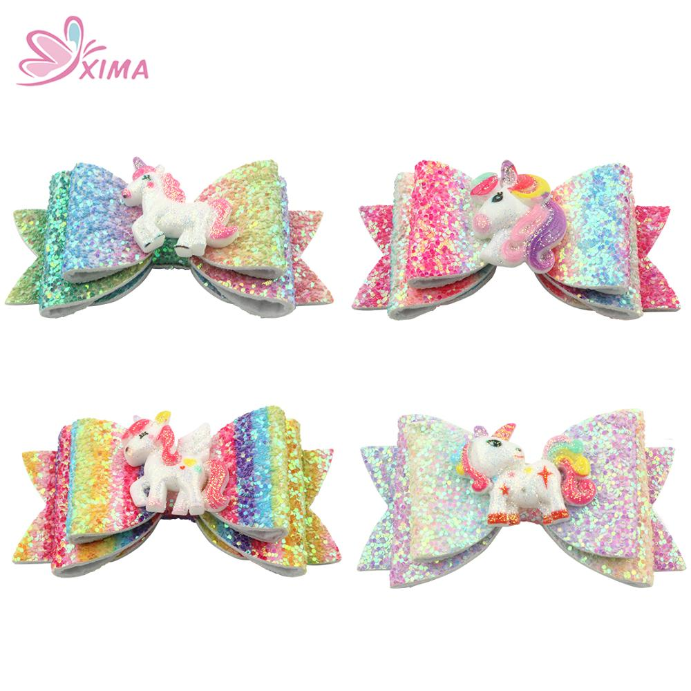 4 Inch Gold Glitter Unicorn Children/'s Hair Bow