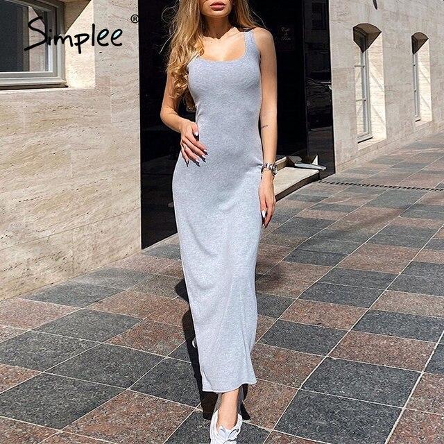 Simplee vestido sexi de moda sin mangas con hombros descubiertos vestido de noche largo liso abierto ajustado vestido de fiesta elegante para mujer nuevo verano 2020