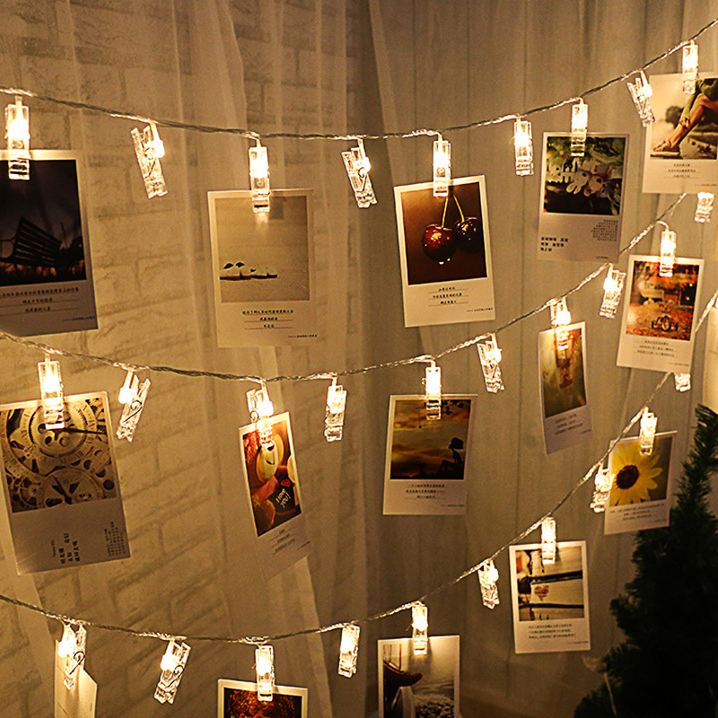 String Lights Photo Clip Holder 1.5M 3M 4.5M Christmas LED Litghts Decoration Battery Powered New Year Birthday Gift Fairy Light