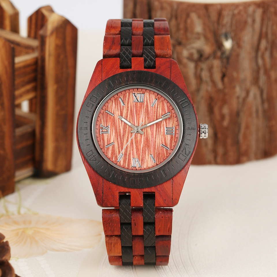 Vintage Wooden Watch Casual Quartz Wrist Watch Full Natural Wood Band Clock Male Watch Fashion Men Bangle Wrist Watch Relogios
