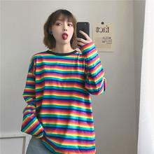 Rainbow Stripe T Shirt 2019 Autumn Harajuku Female Long Sleeve Loose Tshirts Woman Korean Tops Feminine Plus Size
