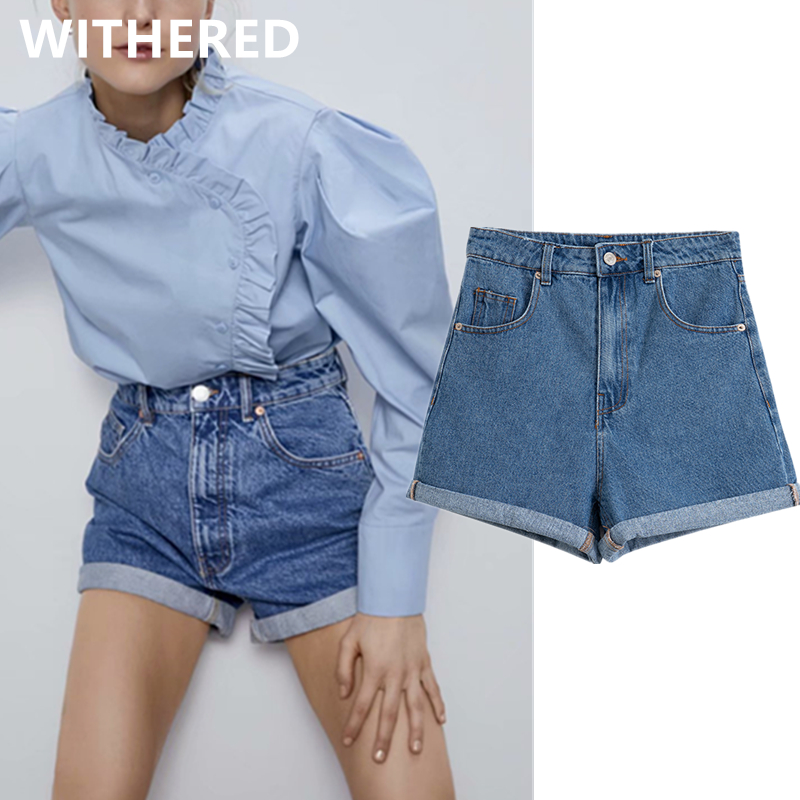 Dave&Di Bts 2020 Summer Ins Blogger High Street Vintage High Waist Mom Denim Shorts Women Short Feminino Plus Size Women Shorts