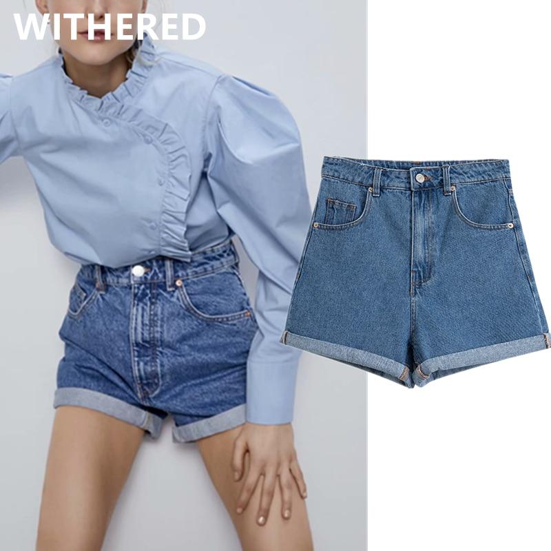 Dave&Di Bts 2020 Summer Ins Blogger High Street Vintage High Waist Mom Denim Shorts Women Short Feminino Plus Size Women Shorts