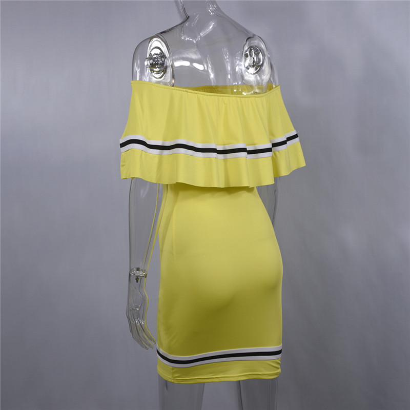 H748556bd5c50415890300db5e03fbb84N - Off Shoulder Slash Neck Sexy Autumn Party Dress Striped Ruffles Short Sleeve Summer Dress Women Plus Size Casual Beach Vestidos