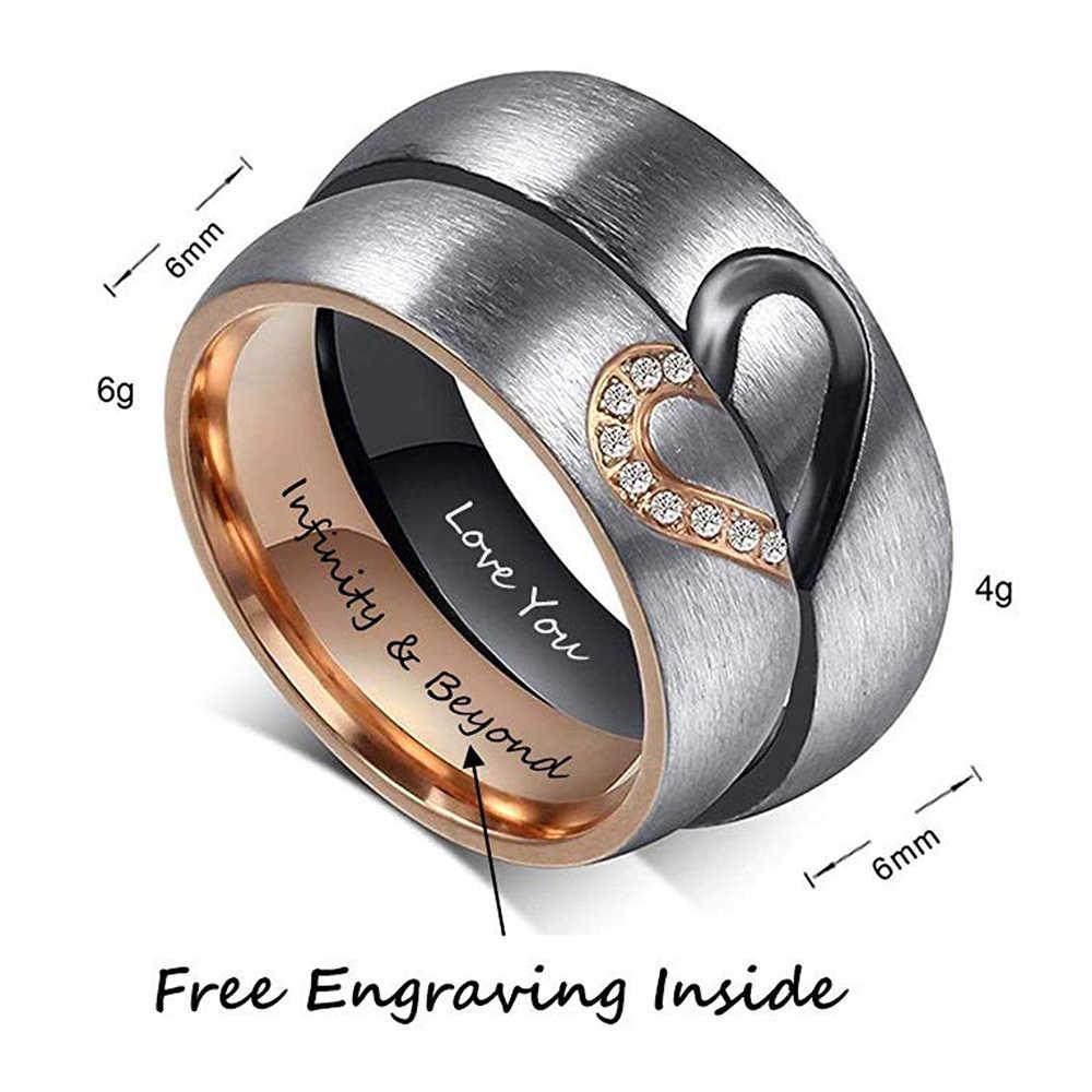 ส่วนบุคคลหัวใจคู่แหวน Zirconia CUSTOM ภายในแกะสลักงานแต่งงานแหวนหมั้นสำหรับผู้หญิงผู้ชายสัญญาของขวัญ