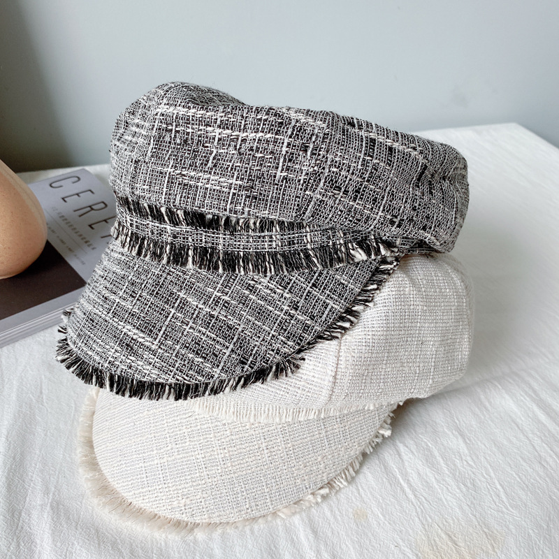 New Women Octagonal Hats Solid Color Beret Hat Cotton Linen Breathable Spring Korean Casual Newsboy Caps