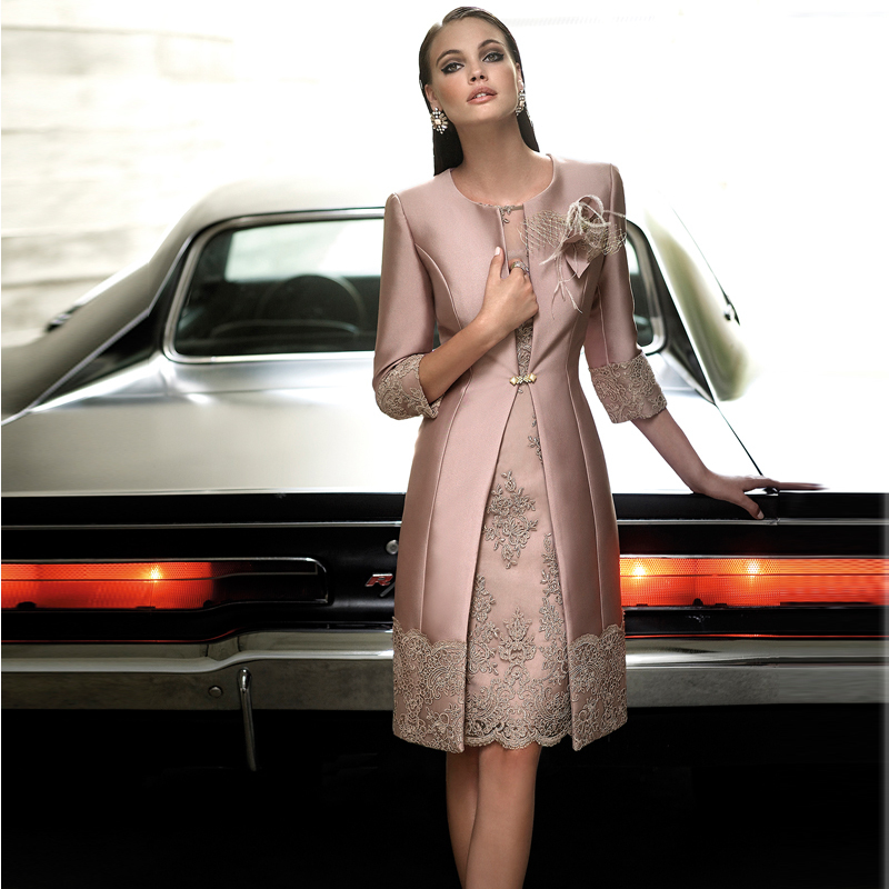 Elegant Short Lace Appliques Mother Of The Bride Dresses With Jacket Knee-Length Vestidos De Madre De La Novia 2015 MBD43