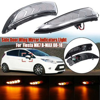 Car Rearview Mirror Light LED Dynamic Turn Signal Lights Indicator for Ford Fiesta MK7 B-MAX 2008-2018 Clean