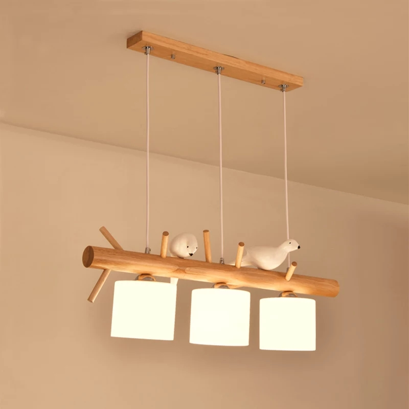 Nordic Pendant Lights Glass Hanging Lamp Dining Kids Room Restaurant Creative Animal Birds Decorative Pendant Lamp Wood Lighting