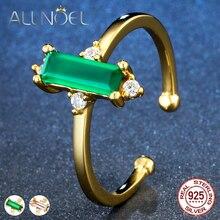 ALLNOEL Minimalist สตรีแหวนพลอย 925 เงินสเตอร์ลิงสีเขียว Agate Rose Quartz เครื่องประดับสีเหลืองทองสีเปิด