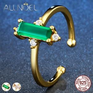 Image 1 - ALLNOEL anillo minimalista de piedras preciosas para mujer, Plata de Ley 925, Ágata verde, joyería de Cuarzo Rosa, Color amarillo dorado, diseño abierto