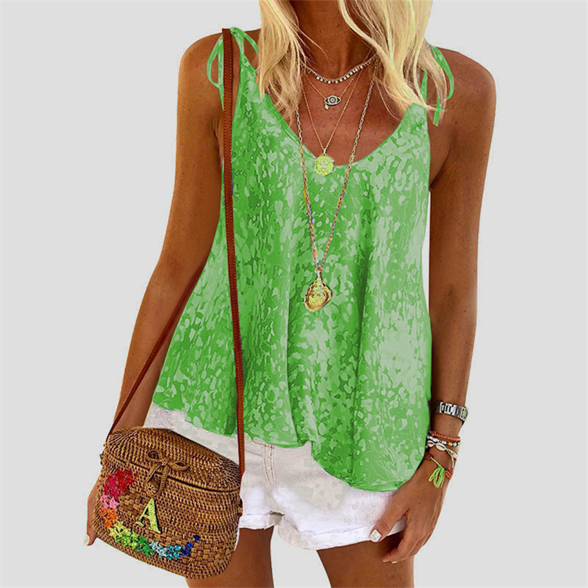 Print Tank Top Women Camis Summer Lace-up Vest 2020 New Fashion Sexy Tanks Female Loose Sleeveless Tee S-XL